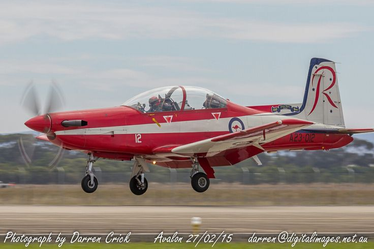 A PC-9A A23-012 of the #RAAF #Roulettes lands at #Avalon airport 27/02/15. #avgeek #aviation #photography #canon #Airshow Avalon Airshow