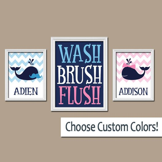 WHALE Bathroom Wall Art Mustache Bow Child Brother by TRMdesign