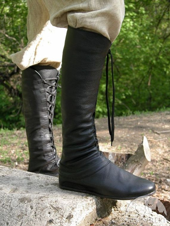 "15% DISCOUNT! Medieval Men's High Leather Boots ""Forest""; Black leather shoes with lacing"