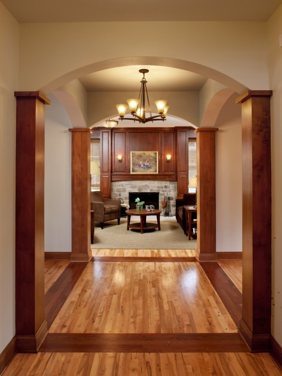 Clear and stained Maple wood floors make this entryway gorgeous!