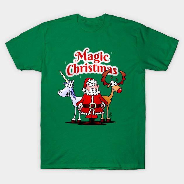 Magic Christmas: Santa, reindeer and a unicorn T-Shirt.  #Christmas #Unicorn #Santa #SantaClaus #reindeer #Magic #Teepublic #Cardvibes #Teepublic #NEW