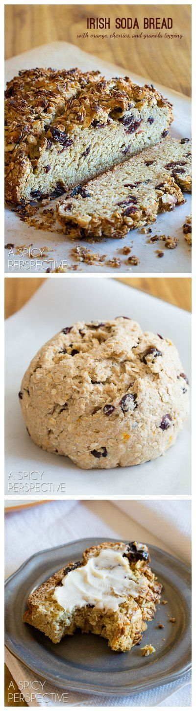 Tender aromatic Irish Soda Bread with Cherries and Granola Top, just in time for Saint Patrick's Day. A slightly sweet Irish Soda Bread Recipe with tons of appeal! via @spicyperspectiv