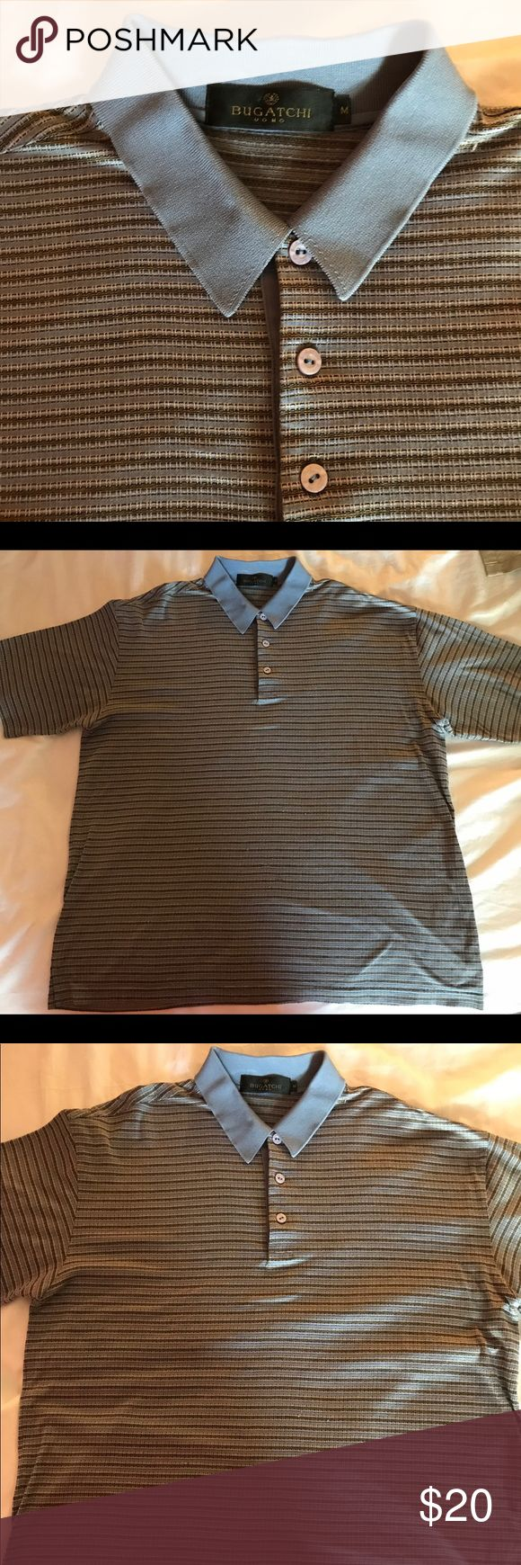 Men's Medium Bugatchi Polo Shirt Men's good condition preowned Bugatchi shirt. Nice design that is comfortable to wear. This shirt is versatile and can be worn for many occasions. Feel free to ask any questions! Bugatchi Shirts Polos