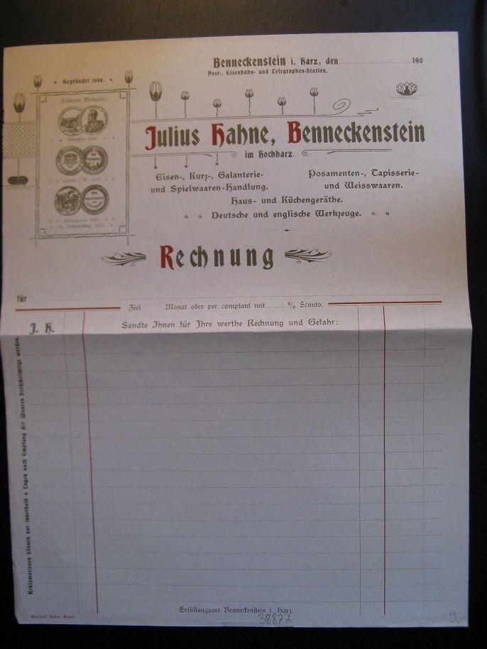 Antique Blank Letterhead, Julius Hahne, Benneckenstein...c. 1900