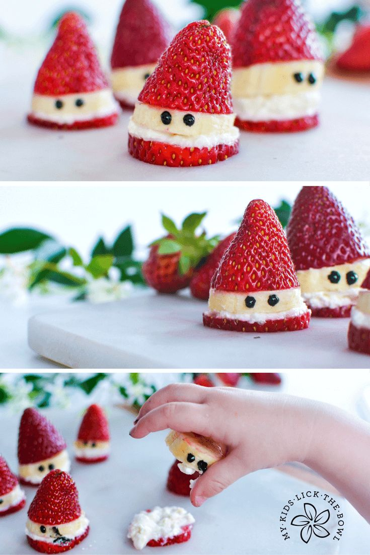 Strawberry Santa a healthy Christmas treat! || Healthy Strawberry Santas - My Kids Lick the Bowl || Fruit Platters for Kids: 10 Christmas Party Platters! || Letters from Santa Holiday Blog