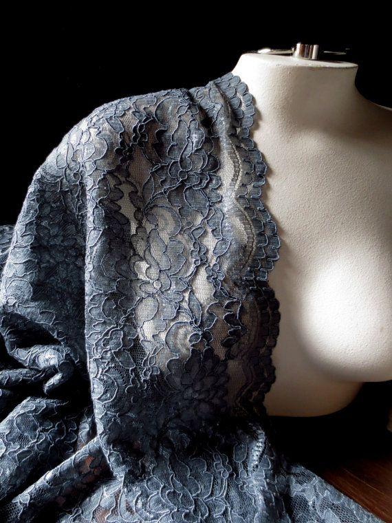 Alencon Lace Fabric in Charcoal Gray for Bridal by MaryNotMartha