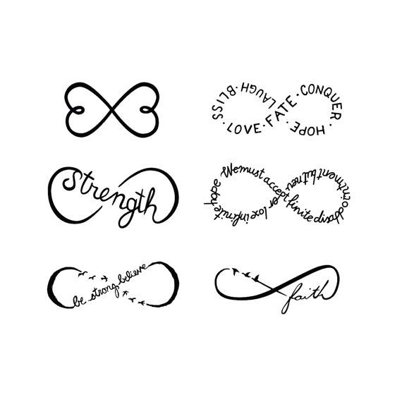 Infinity Symbols Set Temporary Tattoo Set of 6 by Tattify/