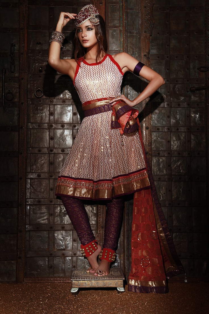 BEIGE BABY DOLL LOOK ANARKALI WITH VELVET PIPINGS & SEQUENCE EMBROIDERY, BROCADE CHUDIDAR & JAMAWAR DUPUTTA