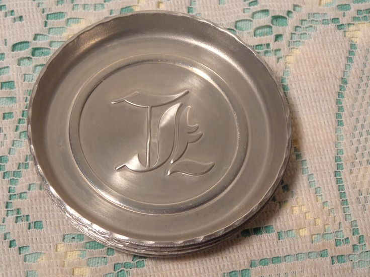 Vintage Mid-Century Aluminum Coasters - Set of Four (4) - Letter J or T -  17-330 by BubbiesMemories on Etsy
