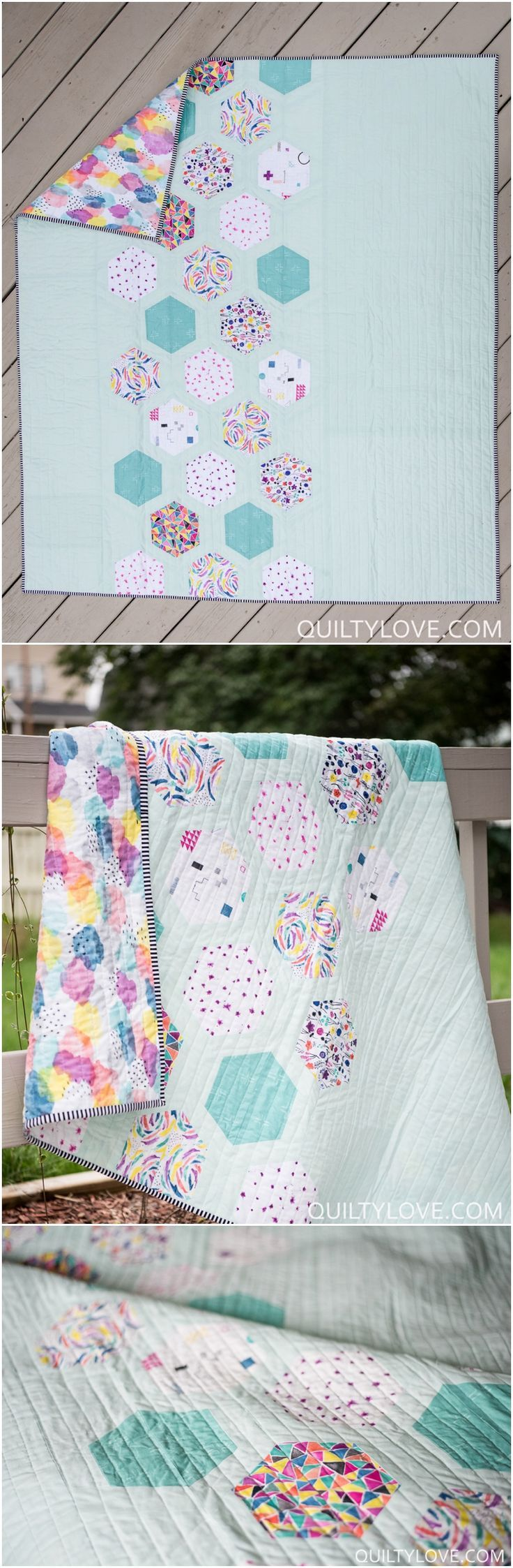 Hexie Framed Quilt Pattern by Emily of Quiltylove.com. Modern hexie quilt using Brush Strokes fabric by Cloud 9 Fabrics.