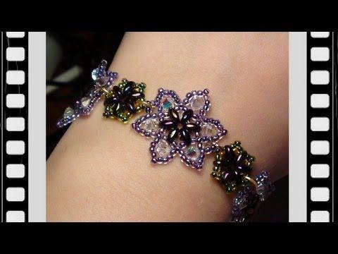 Easy Beaded Flower Bracelet Beading Tutorial by HoneyBeads (Video tutorial) - YouTube