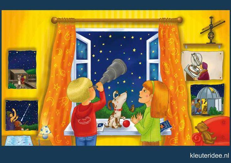 Praatplaat Ruimte 1 kleuters sterren, kleuteridee.nl, free printable (groot formaat) / Preschool theme space planets / Láminas Didácticas Astronaute de l'espace maternelle