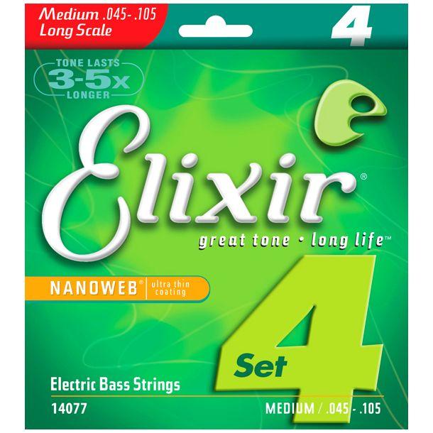 2 sets Elixir bass strings 14077 parts guitars accessories electric bass guitar strings 045-105 musical instrument guitarra bass