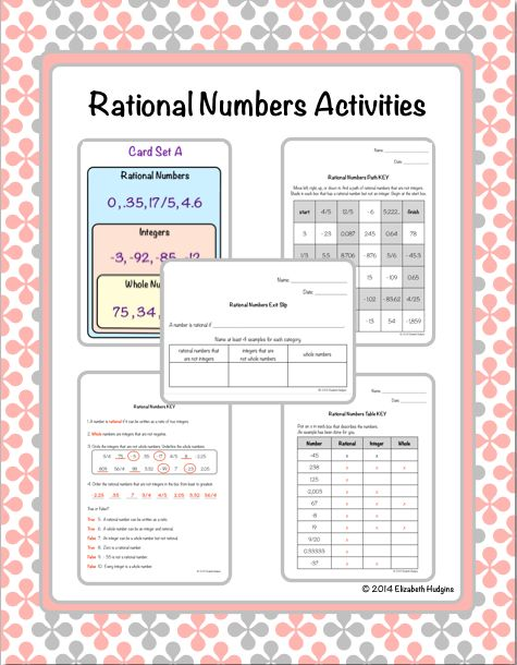 Rational Numbers Activities Activities Math And Number