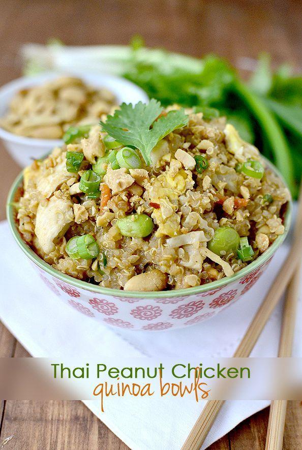 Gluten-free Thai Peanut Chicken Quinoa Bowls have the signature flavors of…