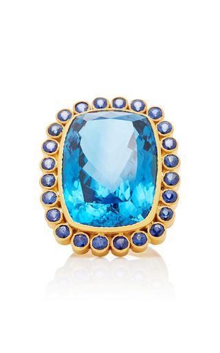 Uno-de-una Especie De Anillo De Zafiro Azul Bahiña jWAgaO