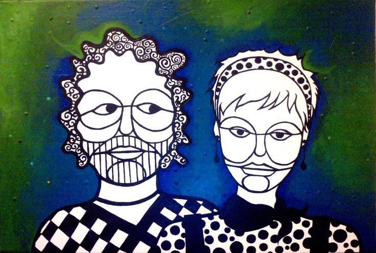 Javi y Jorge. Acrílico sobre tela 100 x 60