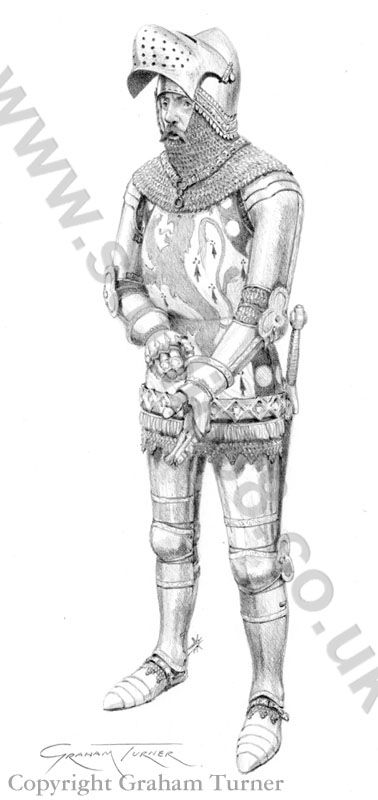 English Knight c.1415 - Original Drawing by Graham Turner Sir John Cornwall (1364-1443)