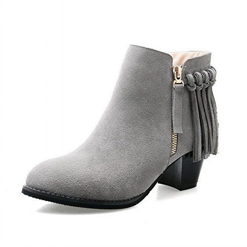 VogueZone009 Womens Cow Leather Kitten Heels Solid Boots with Rough Heels and Zippers Grey 38 *** More info could be found at the image url.