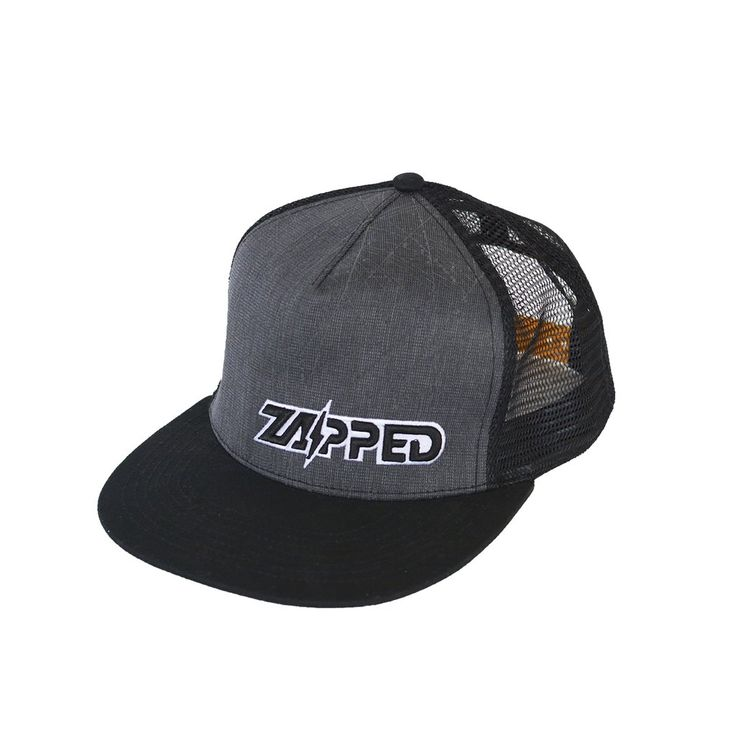 Kids baseball hat with flat bill and mesh back plus reflective material for ultimate visibility. Play Hard / Be Seen with Zapped Outfitters.