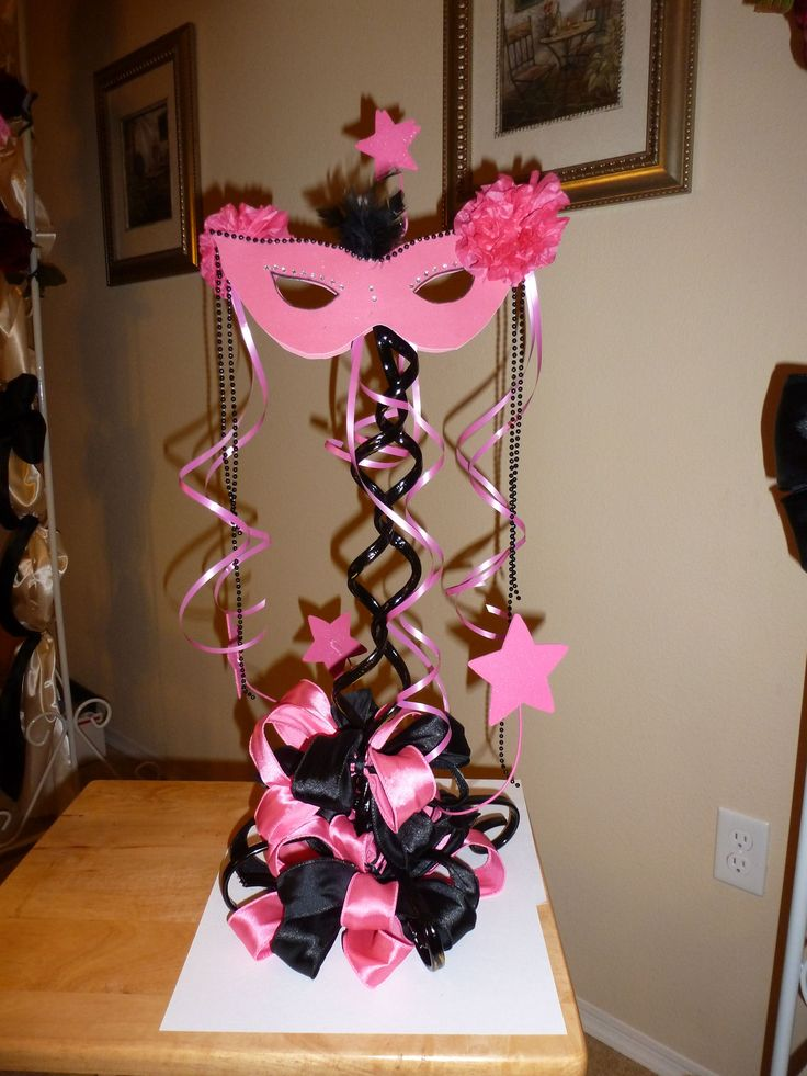 Masquerade and zebra centerpiece quinceanera sweet