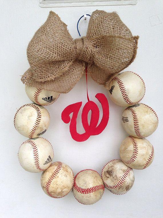 Burlap Baseball Wreath by NTgoodthings on Etsy