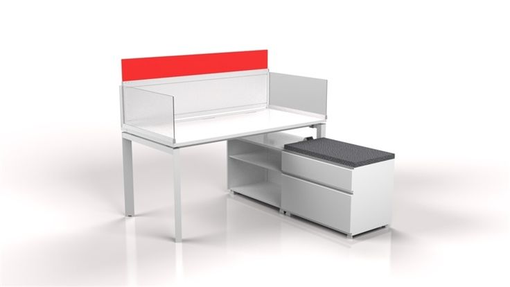 Smart individual workplace carrel with Credenza storage unit gives an appeal of peace with a hint of alert color. - Finishes anodized edge frame, Nova white work-surface, laminate, whiteboard, and frosted acrylic dividers.