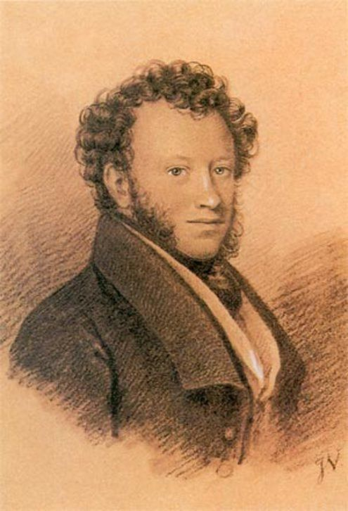 В 1826 году - уже по возвращению из ссылки - Пушкин заказал два своих портрета Иосифу-Евстафию Вивьену, преподававшему рисование в Московском Дворцовом архитектурном училище. . Техника - итальянский карандаш.