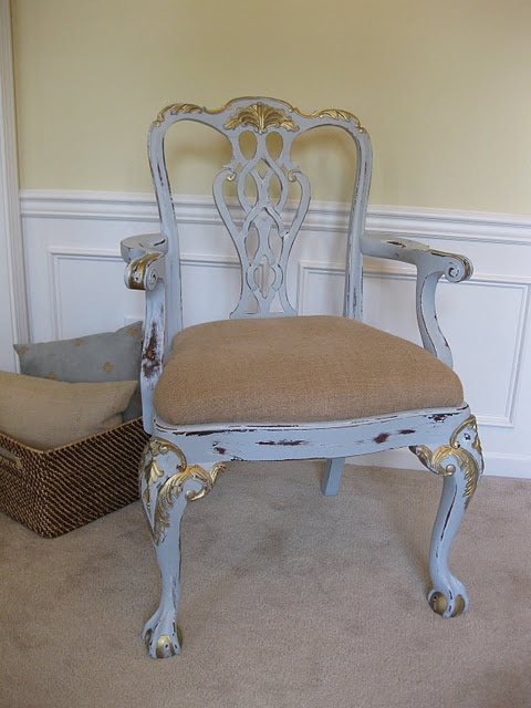 blue distressed chair with burlap seat cover