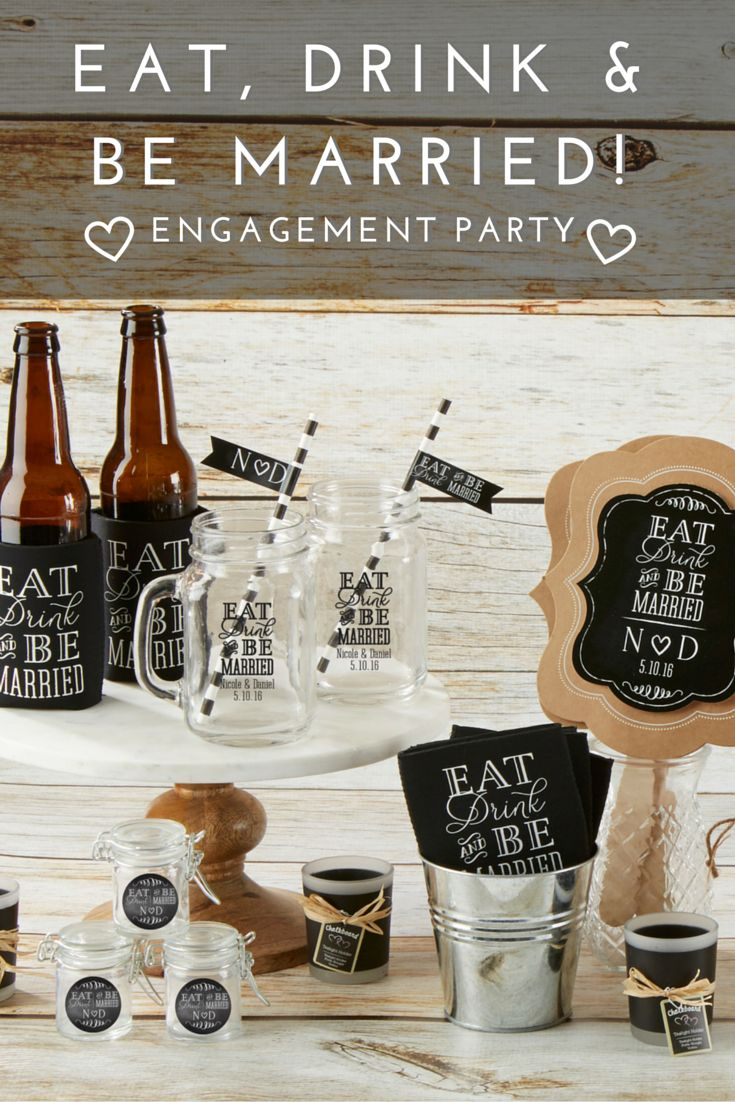 Eat, drink, and be married! Celebrate your upcoming wedding with chic engagement party favors and decor. @MyWeddingFavors