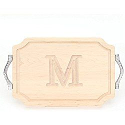 "BigWood Boards 310-RP-M Cutting Board with Rope Handle in Cast Aluminum with Scalloped Corners, 12-Inch by 18-Inch by 1-Inch, Monogrammed ""M"", Maple"
