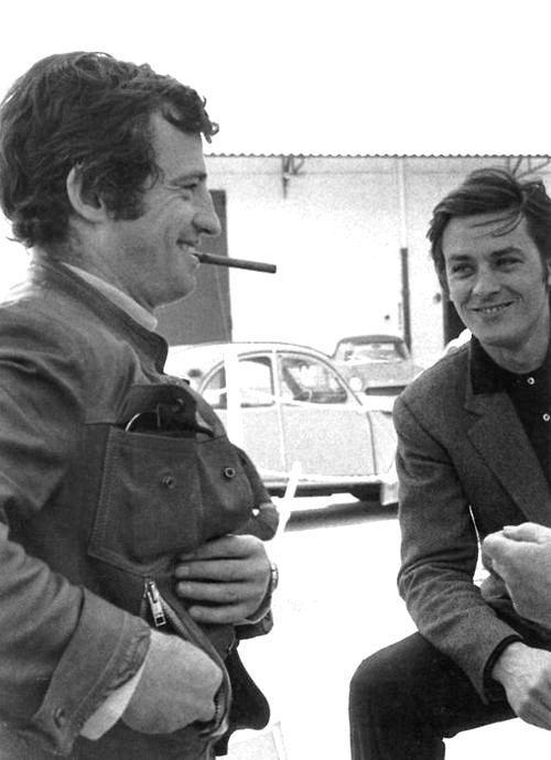 """love-lesbelleschoses:  """"  """" Il fascino di un uomo è sempre la donna a stabilirlo. (R.Gervaso)  Amazing Jean-Paul Belmondo and Anthony Delon in the 60s.~Ste.  """" """"  Jean-Paul Belmondo and Anthony Alain Delon"""