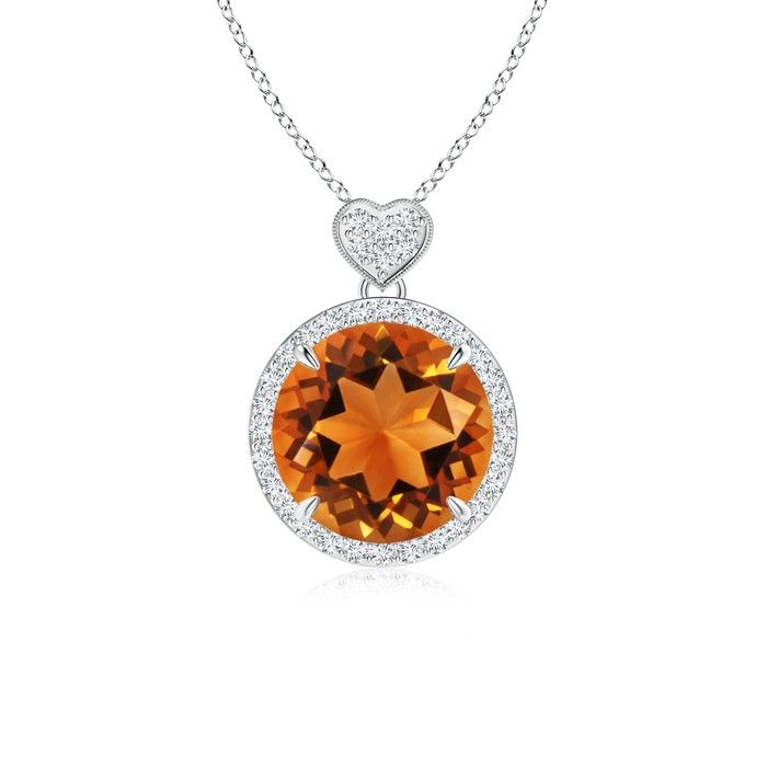 Angara Square Citrine Necklace with Diamond Halo in 14K Rose Gold XuGYG