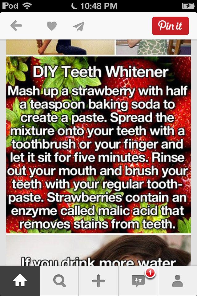 DIY teeth whitener  Strawberries.