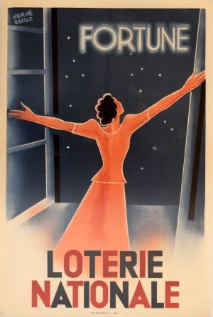 Loterie Nationale - Fortune, 1940 - original vintage poster by Herve Baille…