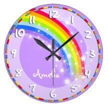 Colourful kids rainbow hues graphic purple wall clock. Customise with the name of your choice, this example reads Stephanie. Would be a great personalised addition to your child's bedroom. © Art and design by Sarah Trett www.sarahtrett.com for www.mylittleeden.com