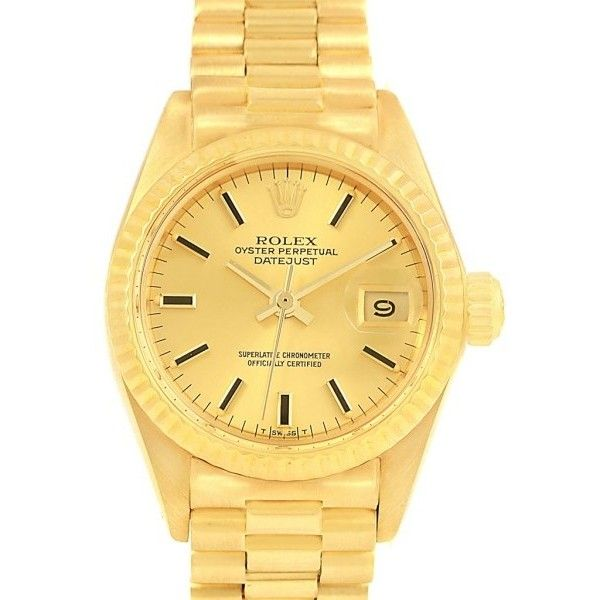Pre-owned Rolex Oyster Perpetual Datejust 6917 14K Yellow Gold... ($6,568) ❤ liked on Polyvore featuring jewelry, watches, gold jewelry, logo watches, gold dial watches, gold crown and 14 karat gold watches