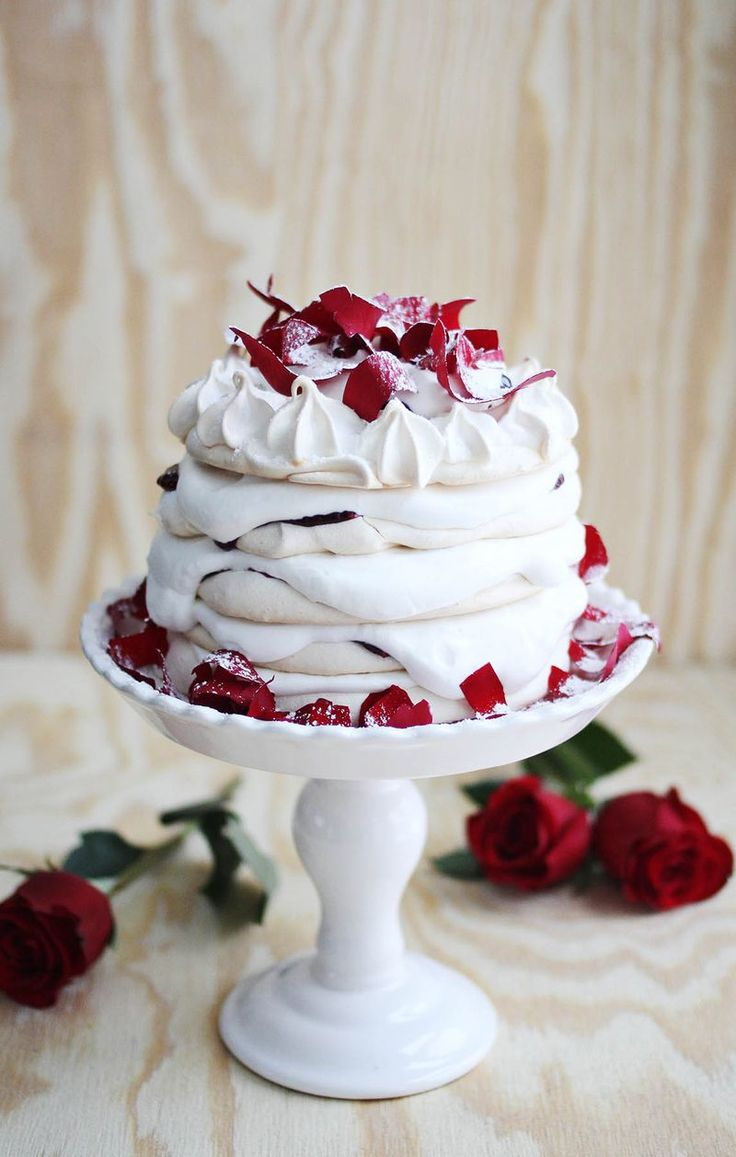 Pavlova with rose whipped cream