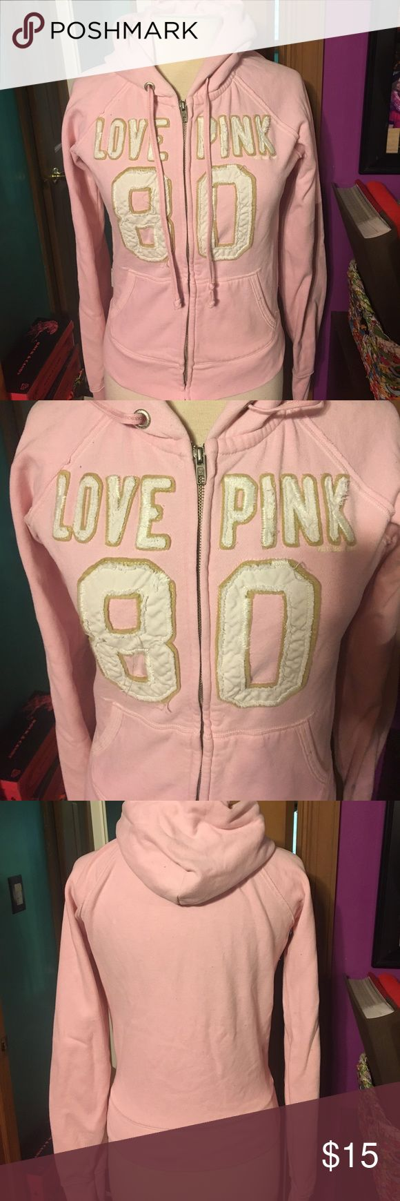 PINK zip up hoodie Size medium PINK zip up hoodie in great condition PINK Victoria's Secret Tops Sweatshirts & Hoodies