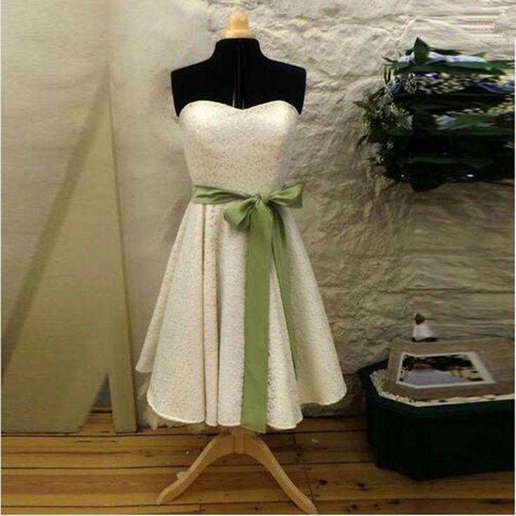 Vintage Style Short Full Lace  Wedding Dress 2017 Sweetheart Ribbon Sash Tea Length Bridal Gowns vestido de noiva Custom Size