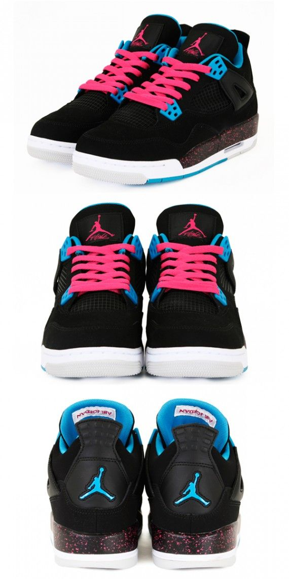 check out b184d 90a59 Air Jordan 4 Retro GS - Black Dynamic Blue-Vivid Pink - New Images   Sole  Collector   shoes   Air jordans, Jordans, Jordan 4