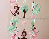 """Baby Mobile - Nursery Mobile - Long Decorative Hearts crib Mobile - """"Deers Love Hearts"""" Mobile - Crib Mobile (Custom Color Available)"""