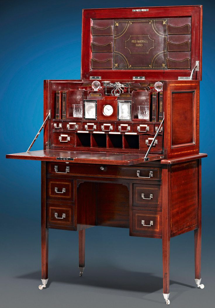 Mahogany British Campaign Desk. English, Circa 1890. This extraordinary and rare English desk is an impeccable example of English campaign furniture. Crafted of mahogany, this compact desk was in service under Field Marshal Sir Frederick Paul Haines, the celebrated military officer known for his command in the First and Second Anglo-Sikh Wars, and then in the Crimean War. This and more important furniture for sale on CuratorsEye.com