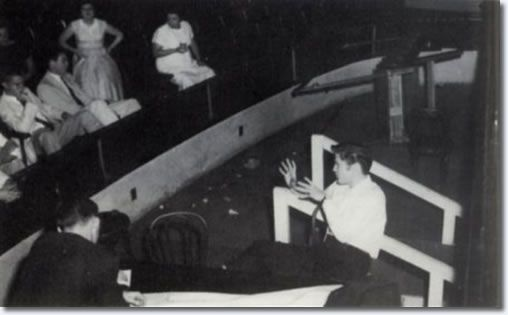 Elvis in the orchestra pit at the piano - June 30, 1956