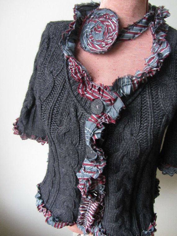 Upcycled Sweater / Gray Sweater Tattered Cardigan with Flower Brooch / Women Tops Sweaters  / Womens Upcycled Clothing / Dark Gray Sweater