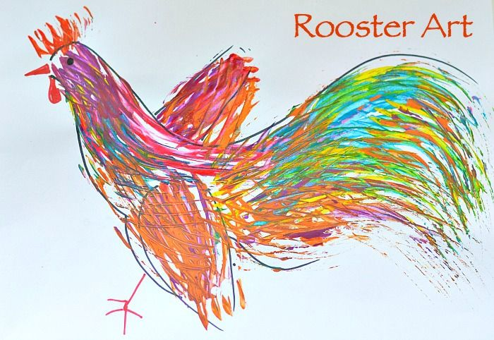 Art Activities for Kids : Rooster Art painting with forks