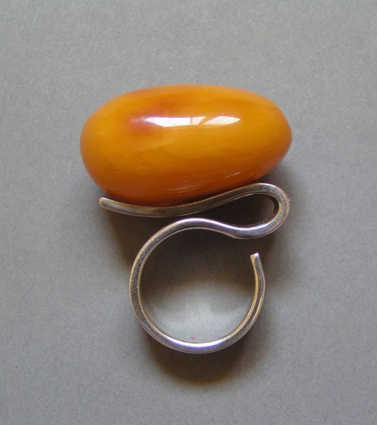 vintage modernist amber + sterling ring