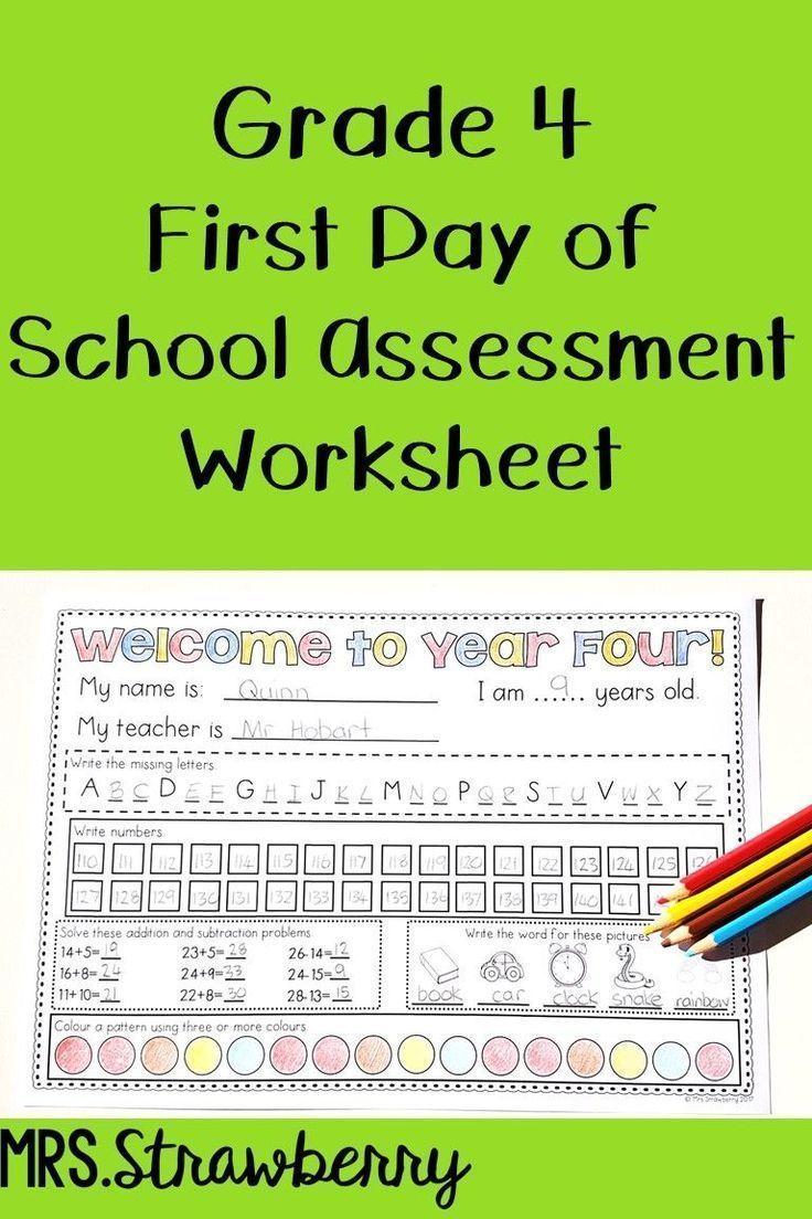 hight resolution of First Day of School Assessment Worksheet Grade 4   Phonics assessments
