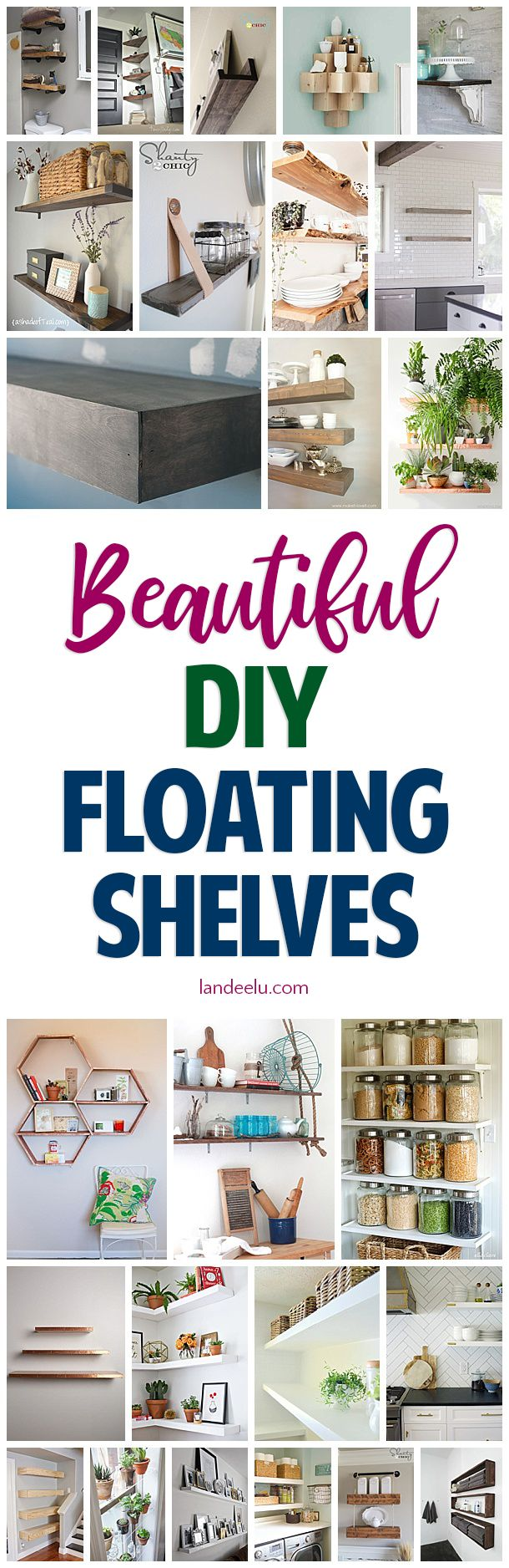 Check out all of these awesome DIY floating shelves tutorials! A fantastic and i...