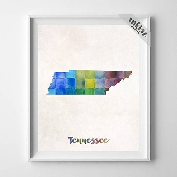 Tennessee, Map Print, Nashville, Knoxville, Memphis, USA, Poster, Watercolor, Painting, Home Town, States, Watercolour, Wall Art. PRICES FROM $9.95. CLICK PHOTO FOR DETAILS. #inkistprints #watercolor #map #mapart #giftforher #homedecor #wallart #walldecor #poster #print #christmas #christmasgift #weddinggift #nurserydecor #mothersdaygift #fathersdaygift #babygift #valentinesdaygift